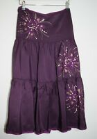 MONSOON: Purple Silk Embroidered Sequined Boho Skirt (SIZE 12)
