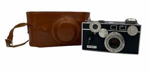 Vtg Argus C3 35mm Rangefinder Film Camera w/ 50mm Lens, Leather Case, Display