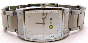 CALVIN KLEIN AIR BP Watch Swiss RARE Rectangle White Face Date Analog WORKS