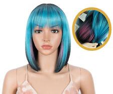 "Women Hair Wigs With Bangs 12"" Blue Black Orange Green Gray Straight Short Bob"