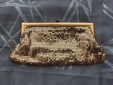 Vintage Whiting And Davis Gold Tone Mesh Bag Coin Purse Evening Bag Engraved
