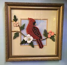 Cardinal Hand-Made Bejeweled Art Piece Made Out Of Jewelry - One of a kind