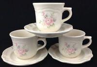 Vtg Pfaltzgraff Tea Rose Cups and Saucers 3 Sets Retired Unused Coffee Tea Cocoa