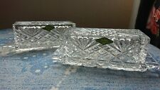 More details for pair of new irish shannon 24% lead crystal cut glass butter cheese dish with lid