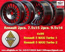 4 Cerchi Renault 5 MAXI TURBO mk1/mk2 7.5x15 & 9.5x16 GREY wheels jantes