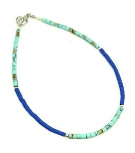 Afghan Turquoise, Lapis Lazuli Tiny Seed Beads Silver Plated Anklet Minimalist
