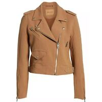 New BLANKNYC Textured Cotton Moto Jacket Womens Size XL Tan Brown Zip