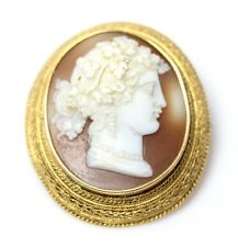 "Antique 14K Yellow Gold Rope Twined Roman Cameo Pin 1.5"" - 2966"