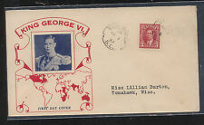 Canada nice first day cachet cover King George Kl0408