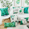 Cottom Linen Letter Green Leaf Pillow Case Sofa Office Cushion Home Decoration