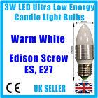 4x 3w LED Bajo Consumo, blanco cálido Bombillas tipo vela, B22, E27 o E14