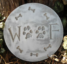 Plastic dog woof plaque mold garden ornament stepping stone
