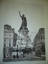 GRANDE GRAVURE PARIS PLACE DE LA REPUBLIQUE 1890