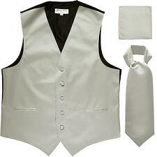 New Men's silver formal vest Tuxedo Waistcoat ascot & hankie set wedding prom