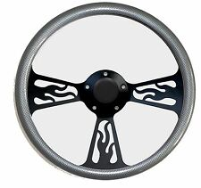 Hot Rod Street Rod Rat Rod Silver & Black Flamed Billet Steering Wheel & Horn