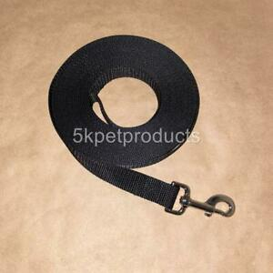 """LONG DOG TRAINING LEASH 1"""" LARGE BREEDS RECALL OBEDIENCE TRACKING BLACK USA MADE"""