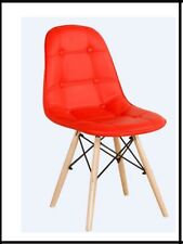 Set of 2 Mid Century Eames Style PU LEATHER DSW Dining Side Chair Wood Legs New