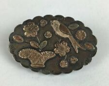 Antique 1891 S Bros Solid Silver Rose Gold Detailed Bird & Floral Brooch