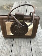 ART DECO 70'S UNBRANDED BROWN LEATHER VINTAGE HAND BAG