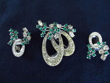 Vintage 1950s Stirling Pin and Earrings Set Green White Rhinestones Christmas
