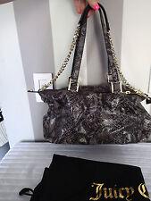 juicy couture SILVIA SNAKE LEATHER GRAY  CHAIN  handbag purse,shopper,satchel