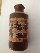 Vintage Antiguo Victoriano 19th botella de tinta de gres cerámica Inglés Denby Bourne