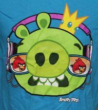 ANGRY BIRDS GREEN PIG ADULT BLUE SIZE SMALL GRAPHIC TEE T SHIRT
