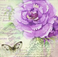 3 x Single Paper Napkins For Decoupage Purple Painted Rose Butterfly Script M504