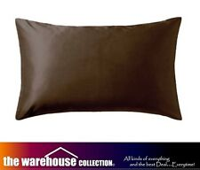 NEW BROWN CHOCOLATE SATIN PILLOW CASE PILLOWCASE Suit SINGLE DOUBLE QUEEN BED