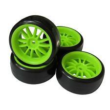 4pcs Green Wheel Rims & Smooth Hard Tires for RC 1: 10 Drift Racing Car CS D3 D4
