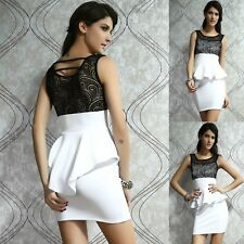 Sexy White Black Lace Sleeveless Peplum Party Chic Cocktail Dress Women Sz 10 12
