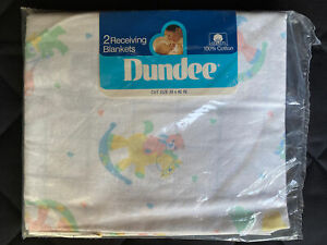 New 2 Vtg Dundee baby receiving blankets 100% Cotton Teddy Bear Rocking Horse
