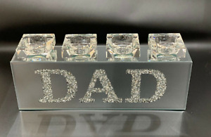 SPARKLY BLING CRUSHED DIAMOND CRYSTAL FILLED 'DAD' TEA LIGHT CANDLE HOLDER✨