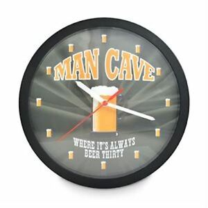 MAN CAVE LED Wall Clock. Its always Beer Thirty.. NeW 26cm 8 Colour LED.