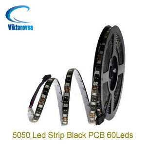 DC 12V 5050 RGB RGBW RGBWW LED Strip Light black PCB tape lights lamp 1M - 5M