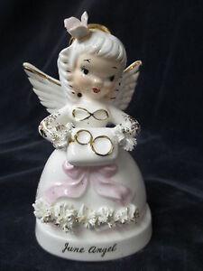 Vintage Napco June Angel #A1366 spaghetti trim with wedding rings