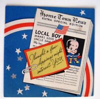 "Vintage Military Greeting Card ""Home Town News For Local Boy""   *"