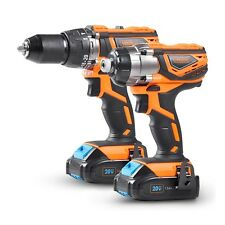 VonHaus Cordless Drill and Impact Driver Set, 2x 1.5Ah Li-ion 20V MAX Batteries