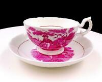 "SUNDERLAND ENGLAND PINK TRANSFERWARE SCENES 2"" CUP AND SAUCER"