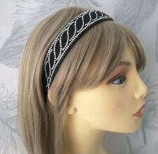 STUNNING 2.5cm wide black bead & clear diamante plastic headband - aliceband