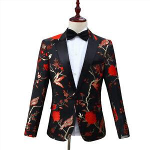 Men Slim Floral Embroidered Suit Jacket Pants Set Peak Lapel Blazer Casual Fit