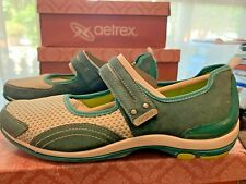 Aetrex Lizzy Green Leather Mary Jane Comfort Loafers Women's Shoe Size 5.5M NEW