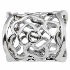 Hollow Rose Scarf Ring Buckle Slide Tube Scarf Jewelry Silver X4C7