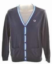 FRED PERRY Boys Cardigan Sweater 14-15 Years XL Blue Cotton  HL12