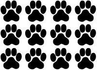 Pfoten, Cat, Dog, Hundepfoten, Katzenpfoten Aufkleber Sticker 12 Stück in 5X5cm!