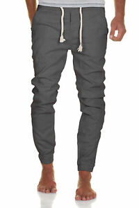 Herren Leinen-Optik Jogger Chino Hose Jeans Sweatpants Sweathose 7008