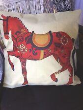 Red Horse Print Cotton Linen look Sofa Throw Cushion Cover Home Decor