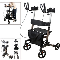 Adjustable Upright Stand Up Folding Rollator Walker with Seat Foldable