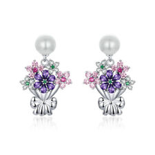 Rhodium Plated S925 Silver Synthetic Pearl Holding Flowers Earring Stud VOROCO