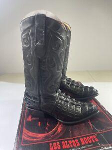 Los Altos Black Alligator Tail Print Toe Western Cowboy Boots 90114 Size 6.5EE